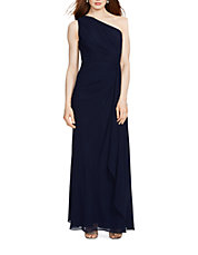 Georgette One-Shoulder Gown