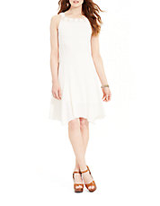 Macrame-Neck Cotton Dress