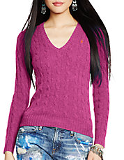 Merino Wool and Cashmere Cable V-Neck Sweater