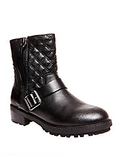 Rivalree Quilted Leather Mid-Calf Boots