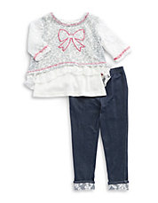 Girls 2-6x Two-Piece Lace Knit And Leggings Set