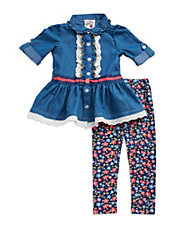 Girls 2-6x Two-Piece Chambray Dress And Floral Leggings Set
