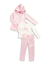 Girls 2-6x Zip-Up Jacket, Tee and Pants Set