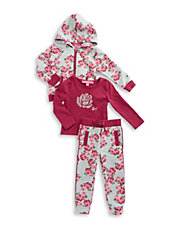 Girls 2-6x Rose Hoodie, Tee and Pants Set