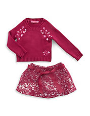 Girls 2-6x Embroidered Knit and Skirt Set