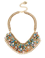 Weave and Sew Woven Mixed Multi-Colored Bead and Flower Mesh Bib Necklace
