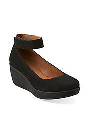 Claribel Fame Leather Mary Jane Platform Wedge Loafers