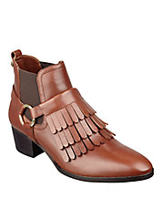 Rayna Fringe-Accented Leather Ankle Boots