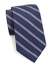 Striped Textured Silk and Wool Tie