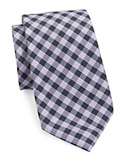 Checked Wool and Silk Tie