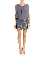 Sequined-Skirt Blouson Dress