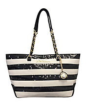 Striped Sequined Tote