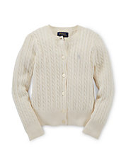Girls 2-6x Cable Knit Cardigan