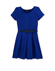 Girls 2-6x Pleated Ponte Dress