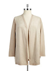 Plus Faux Suede-Panelled Cardigan