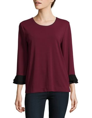 Flounce Sleeve Top by Karl Lagerfeld Paris