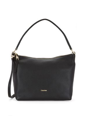 Top Zip Leather Shoulder Bag by Calvin Klein