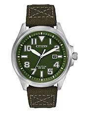 Mens Military Watch with Green Nylon Strap