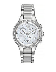 Chronograph Eco-Drive Crystal Stainless Steel Bracelet Watch