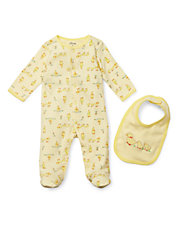 Yellow Duck One Piece Footed Sleeper With Matching Bib