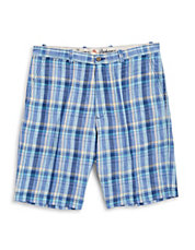 Big and Tall Plaid Flat Front Shorts