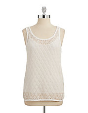 Crochet Lace Overlay Tank Top