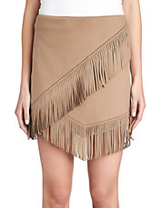 Fringe Faux-Suede Wrap Skirt