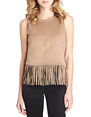 Fringe Faux-Suede Tank Top