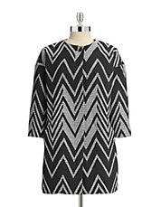 Zig Zag Collarless Coat