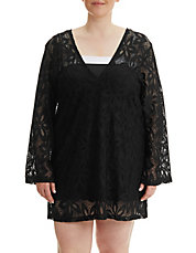 Plus Size Floral Crochet Cover-Up Tunic