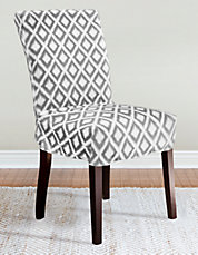 Ikat Slate 1-Piece Relaxed-Fit Dining Chair Slipcover