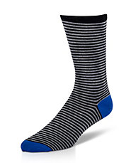 Two Tone Stripe Pima Cotton Dress Socks