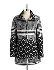 Geo Printed Wool-Blend Coat