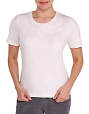 Petite Soutache Detail Neck Tee