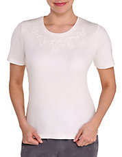 Plus Soutache Detail Neck Tee