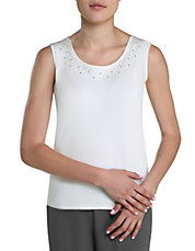 Petite Embroidered Scoop Neck Tank