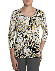 Petite Floral Print Pleated Shirt