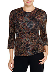 Petite Printed Pucker Knit Stretch Top