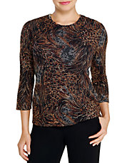 Plus Printed Pucker Knit Stretch Top