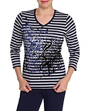Plus Striped Filigree Print Top