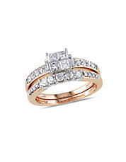 Diamond and Pink Gold Bridal Set Ring
