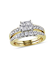 Diamonds and Yellow Gold Bridal Set Ring