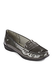 Patent Leather-Look Penny Loafers
