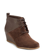 Suede and Leather Wedge Bootie