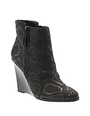 Snakeskin Leather Wedge Booties