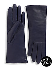 Cashmere-Lined 10.75' Leather Gloves