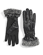 Faux Fur Cuff Touch-Screen Gloves