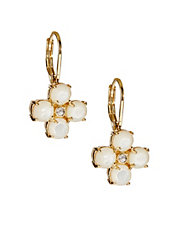 Pavé Stone Floral Drop Earrings