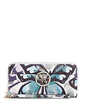cheap guess handbags outlet gt78  Kamryn Butterfly-Print Zip-Around Wallet