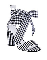 Allison Gingham Ankle-Wrap Sandals